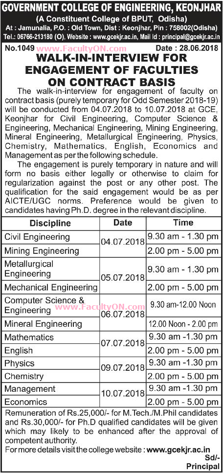 Government College of Engineering, Keonjhar, Teaching