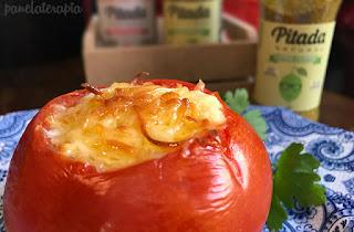 Tomates recheados com creme de queijo light