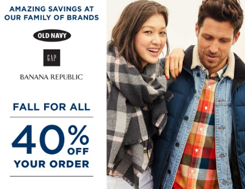 Old Navy, Gap & Banana Republic Fall for All 40% Off Promo Code