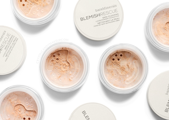 BareMinerals Blemish Rescue Skin-Clearing Loose Powder Foundation Review Swatches Before After