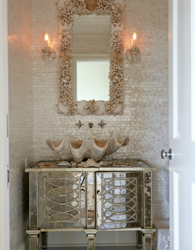seashell powder room, giant clam shell sink