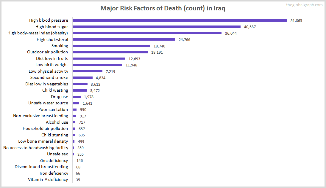 Major Cause of Deaths in Iraq (and it's count)