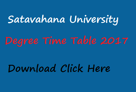 Satavahana University Degree Time Table 2017