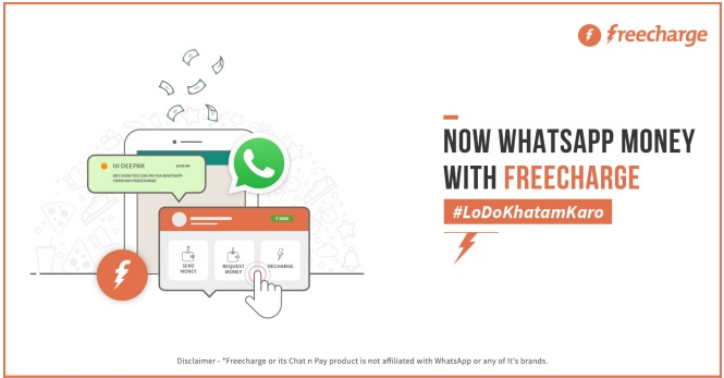 WhatsApp lets you instant transfer of Freecharge Money