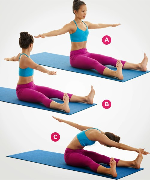 Keep Your Legs Straight, Put Your Hands Behind Your Head And Lift Your Head  And Shoulders Off The Floor. Bend The Left Leg At All Times In The Chest  And ...