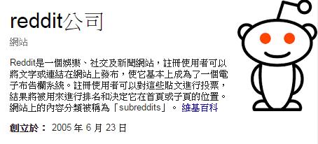 Google 整理關於 Reddit 的介紹,資料來自維基百科。數位時代翻攝。