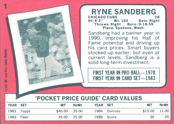 Wrigley Wax The Baseball Card Price Guide Backs