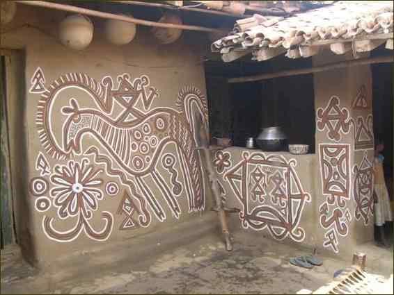 Sohrai Harvesting Festival Of Santhals House Art Painting