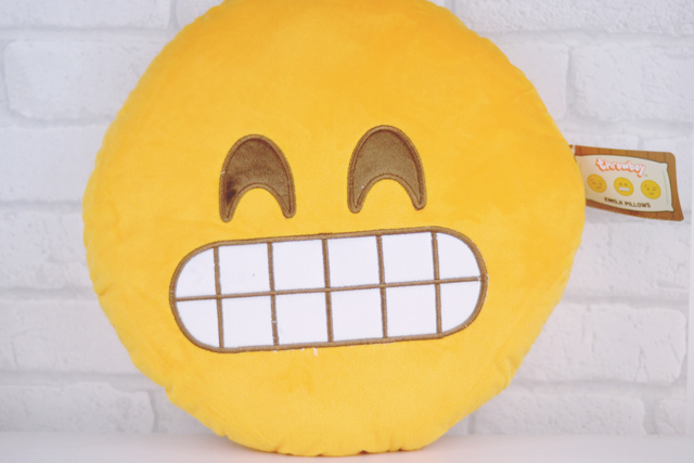 Grinning emoji cushion pillow