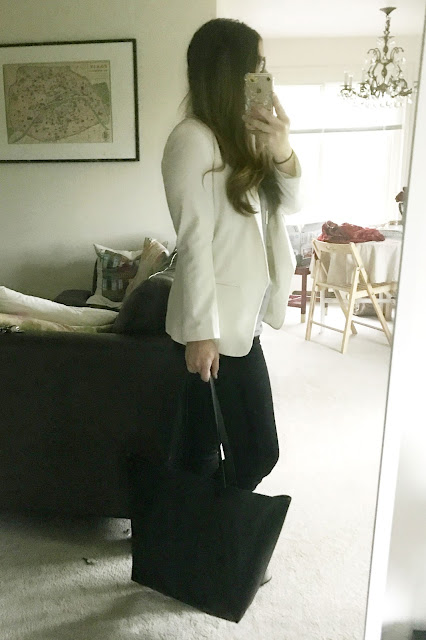 Thrifted White Blazer ASOS, Loafers, Black Skinnies