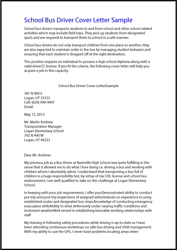 bus driver cover letter exolgbabogadosco - Bus Driver Resume Template