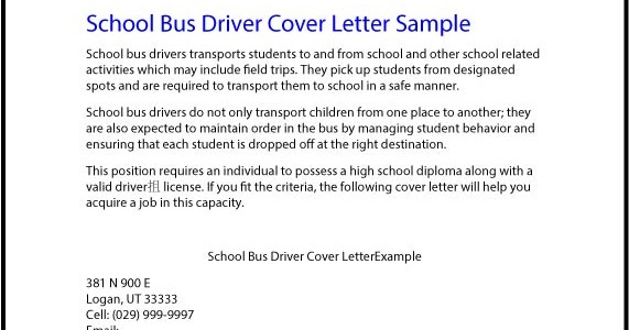 Great Sample Resume School Bus Driver Cover Letter Sample