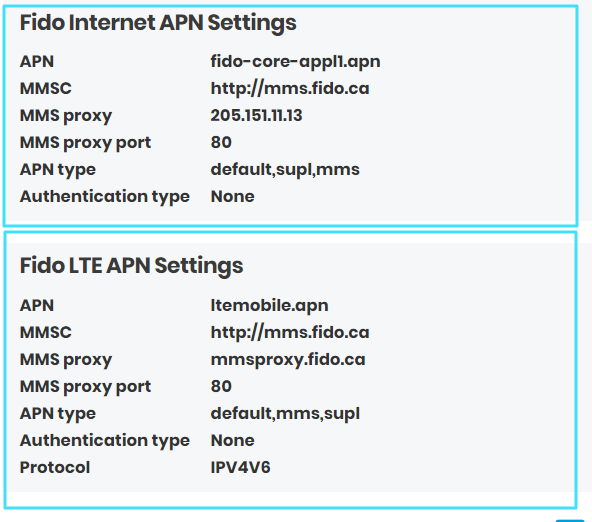 New Fido APN Settings