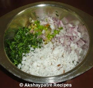 onion, coriander leaves green chillies and coocnut