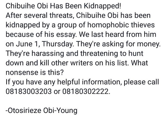 Nigerian Gay activist kidnapped in Owerri (Photos)
