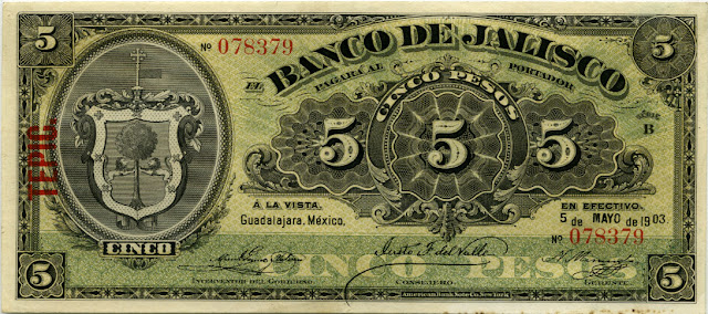 Mexico banknotes currency 5 peso bill