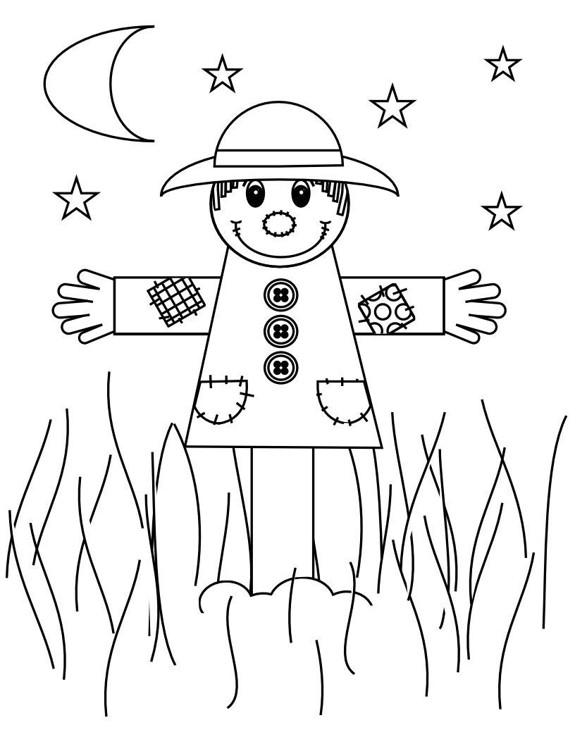 Inventive image inside printable scarecrow coloring pages