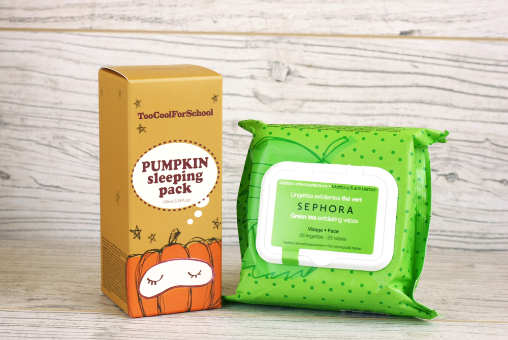 pumpkin-sleeping-pack-too-cool-for-school, chusteczki-peelingujace-sephora