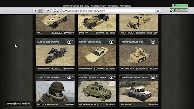 GTA 5 Online, Gunrunning, Vehicle Prices