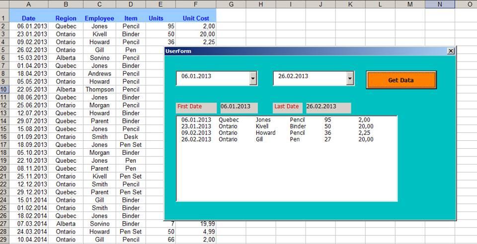 Excel İki Tarih Arasını Userform (Combobox) İle Süzme
