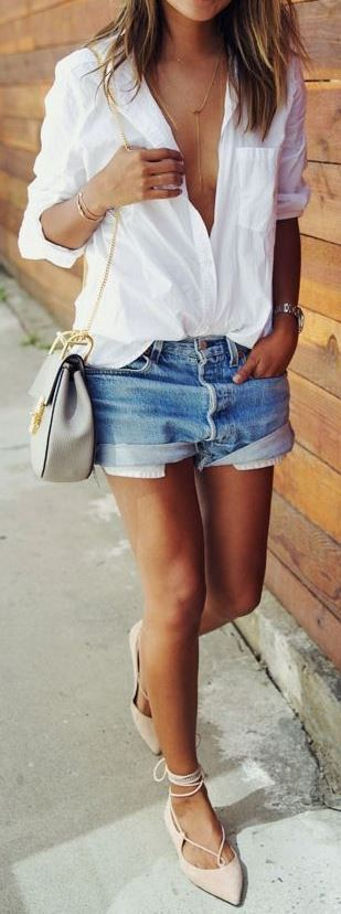 summer casual style obsession: shirt + bag + shorts