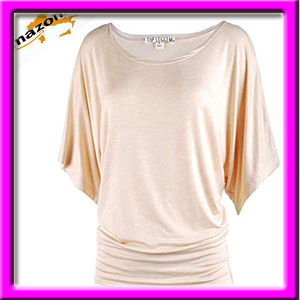 bc82ada1ec098 TOP LEGGING TL Womens Versatily Short Sleeve Boat Neck Dolman Drape Tops  With Banded Bottom