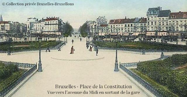 Gare du Midi - Place de la Constitution (1869-1949) - Vue vers la rue du Midi en sortant de la gare - Bruxelles-Bruxellons