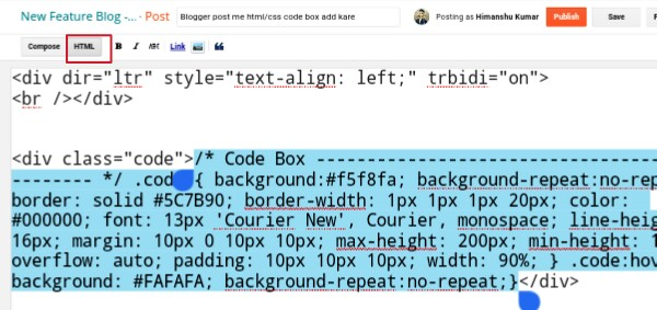 switch on html mode in blogger post editor