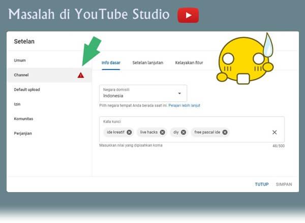 mengatasi masalah setelan channel youtube
