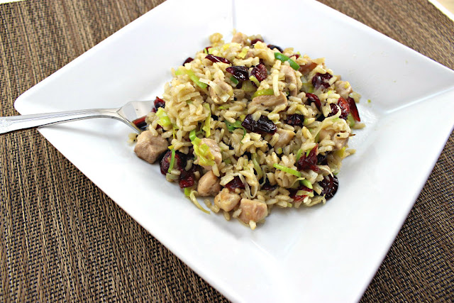 Chicken Fried Rice with Leeks and Cranberries