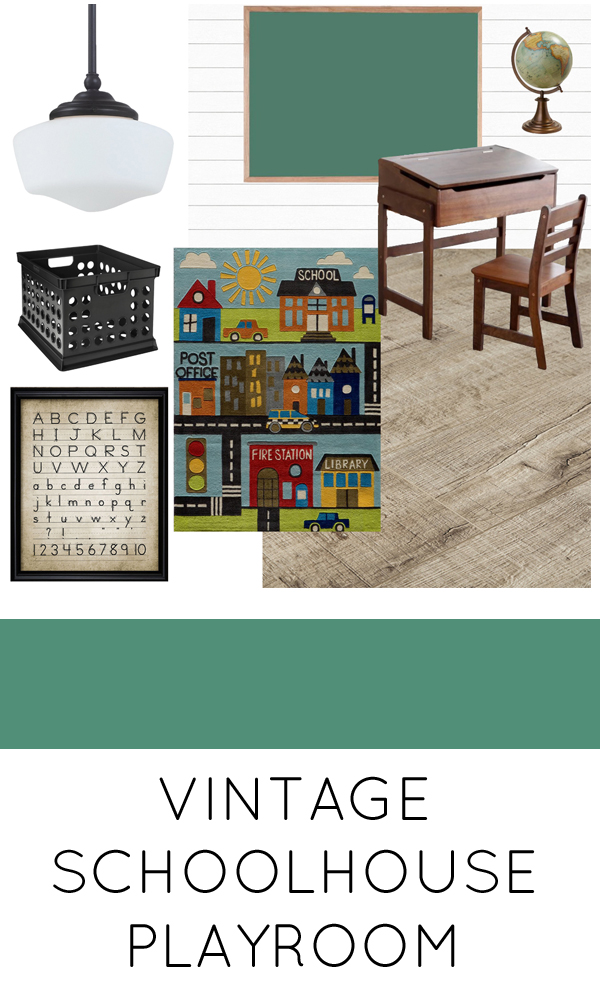 Moodboard for a vintage modern schoolhouse themed playroom makeover for the One Room Challenge. #schoolhouse #playroom