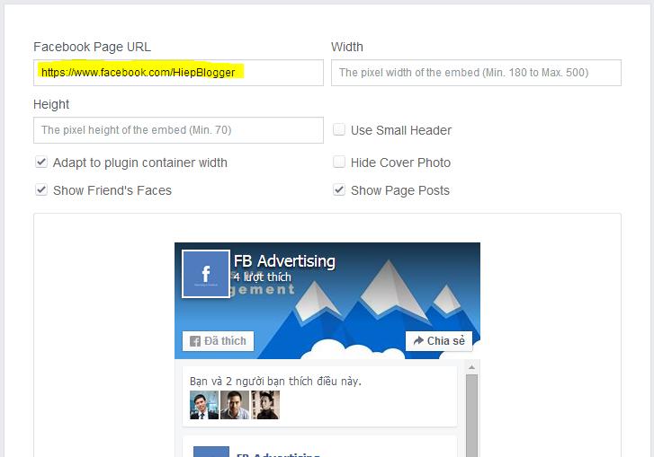 Cách chèn Fanpage Like Box vào website. Thêm tiện ích Page Plugin cho trang web của bạn