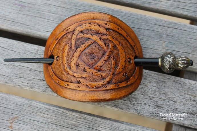 Doodlecraft leather carved stick barrette