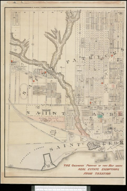 1872 Wadsworth & Unwin Map of the City of Toronto showing Tax Exemptions - W