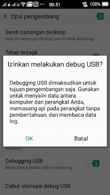 USB Debugging wajib diaktifkan