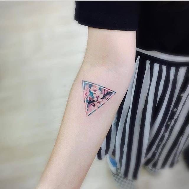 Flower Triangle Tattoo