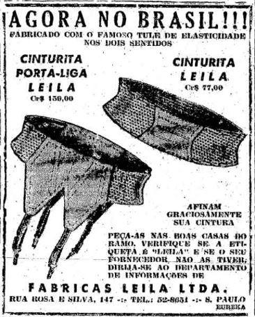 Propaganda da de acessórios para afinar a cintura das mulheres nos anos 50.