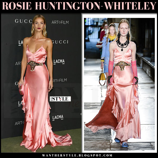 Rosie Huntington-Whiteley in silk pink slip dress gucci what she wore lacma red carpet 2016