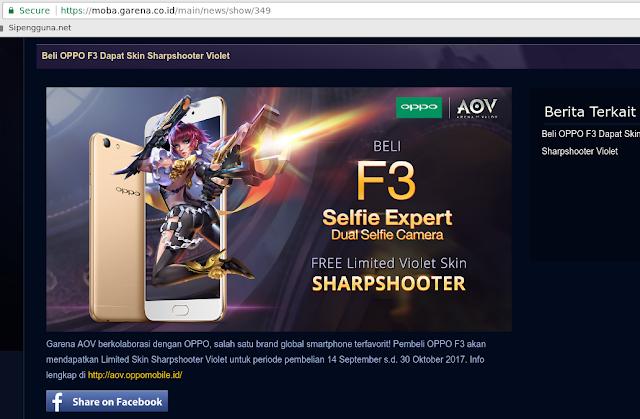 [Limited] HP OPPO F3 Buat Main Garena AOV Dapat Skin Hero Violet Gratis