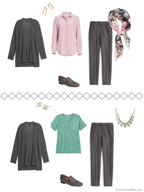 2 ways to wear grey pants from a Tote Bag Travel wardrobe
