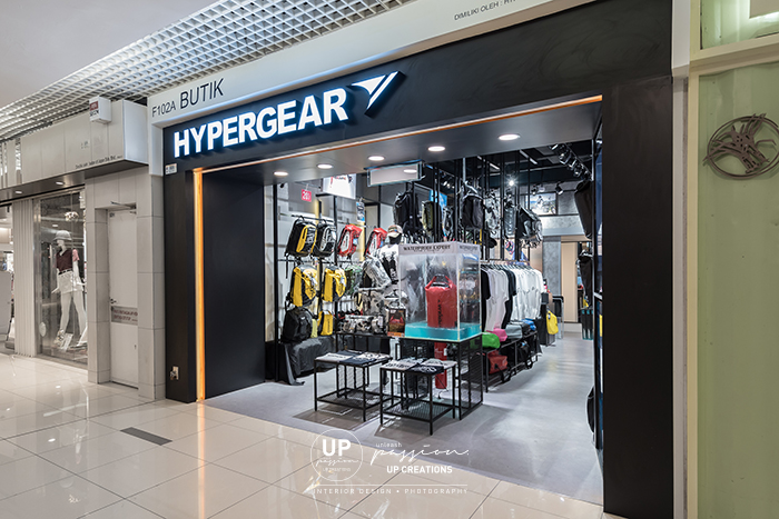 1U hypegear shopfront in full black color and orange lining for highlight