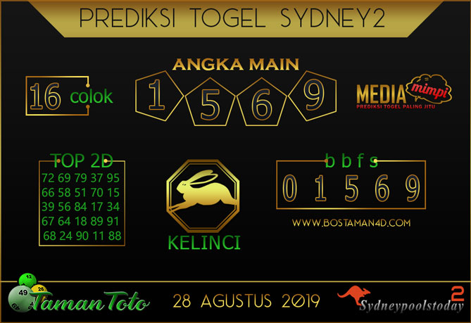 Prediksi Togel SYDNEY 2 TAMAN TOTO 28 AGUSTUS 2019