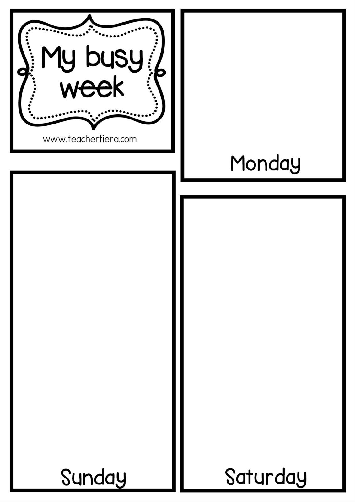 Teacherfiera My Busy Week Flip Book Template Year 2 Unit 5
