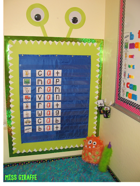 Building CVC words and so many other fun ideas - love the monster pocket chart!