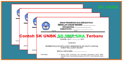 Contoh SK UNBK SD SMP SMA Terbaru Tahun 2018