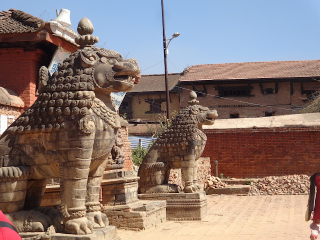 Lion Statues in Nepal