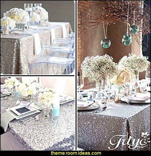 Silver Sequin Tablecloth, Silverwedding Tablecloth, Silver Glitter Tablecloth, Silver Sparklytablecloth
