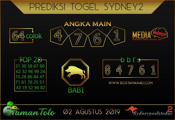 Prediksi Togel SYDNEY 2 TAMAN TOTO 02 AGUSTUS 2019