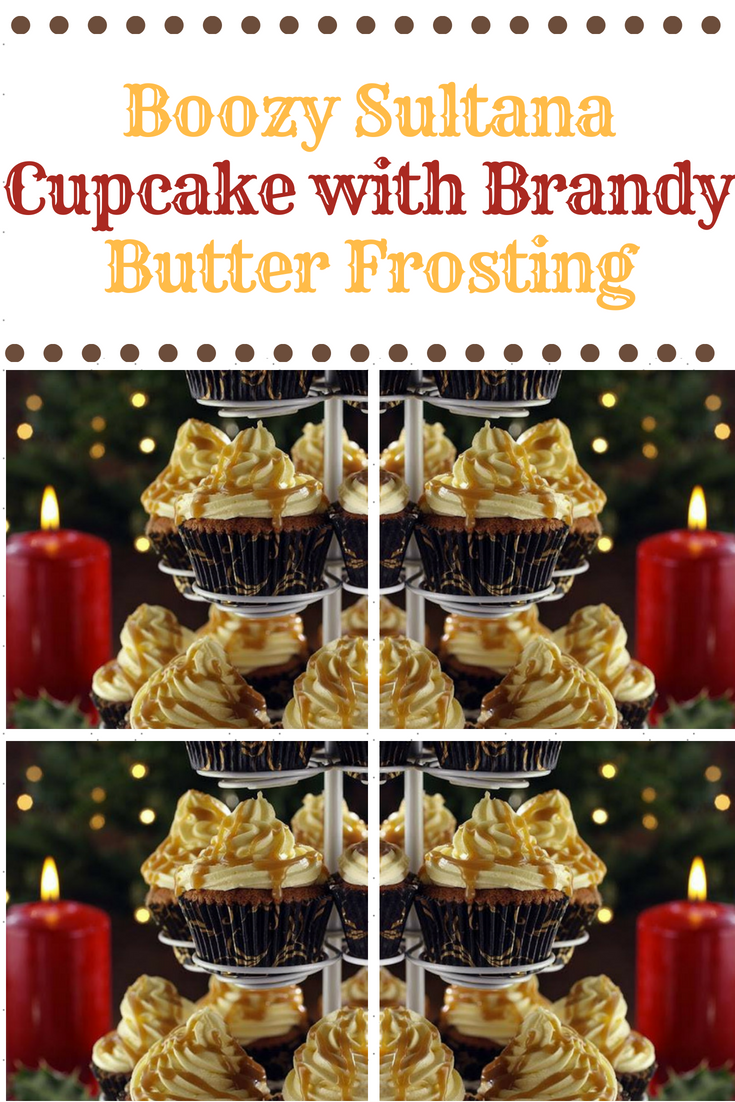 Boozy Sultana Cupcake with Brandy Butter Frosting