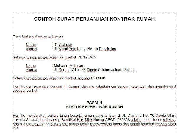surat perjanjian kontrak rumah 1 tahun doc